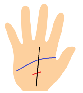 運命線の障害線が知能線の下にある手相